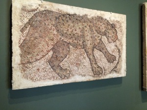 Byzantine, northern Syria, Mosaic fragment with leopard, 450-500