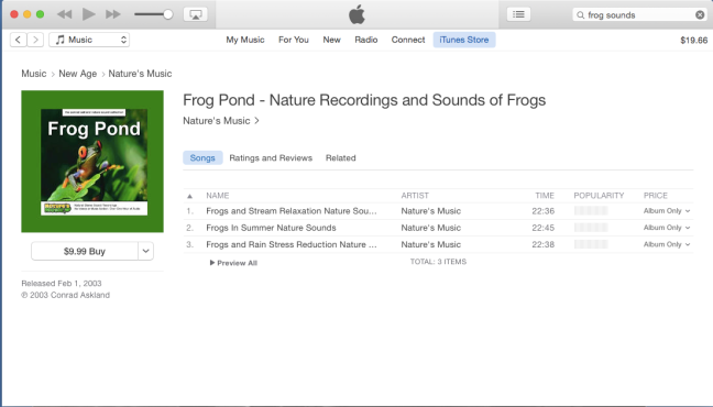 frog sounds search album