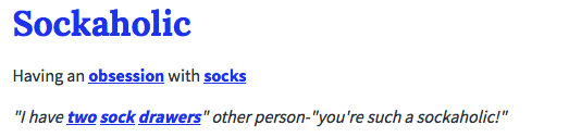 sockaholic definition