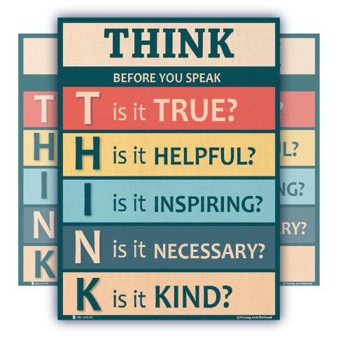 Think-before-you-speak-LAMINATED-motivational-chart-rainbow-colors-classrooms-and-educators-poster-B079NBQMP8